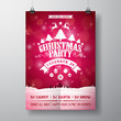 Vector Merry Christmas Party Flyer Illustration with Typography and Holiday Elements on Red background. Winter Landscape Invitation Poster Template. - 176526543