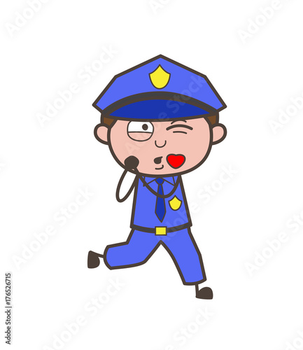 Cute Lover Officer Blowing Kiss Vector Illustration