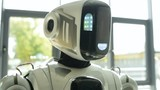 Portrait of robotic machine turning head and looking - 176528706