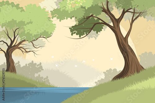 Keuken foto achterwand Beige Beautiful lake and forest scene vector nature landscape background