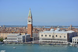 A view of Venice taken from the San Giorgio Maggiore with the iconic Campanile di San Marco (Saint Mark's Belltower) and the Doge's Palace