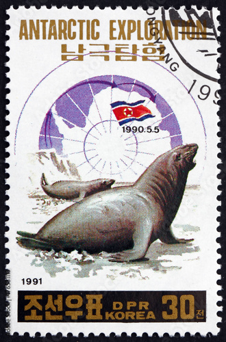 Foto op Canvas Antarctica Postage stamp North Korea 1991 Elephant Seals, Antartic Explorat