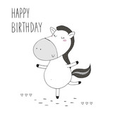happy birthday card with Cute hand drawn funny horse. vector print - 176532301