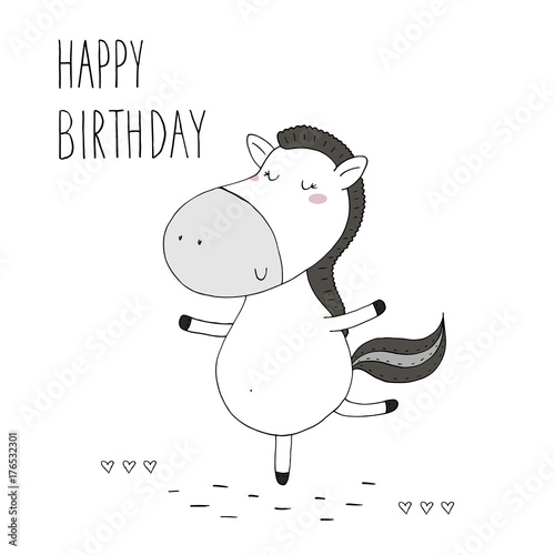 happy birthday card with Cute hand drawn funny horse. vector print