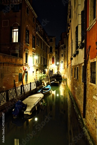 Wall mural Venice Canal at Night Italy