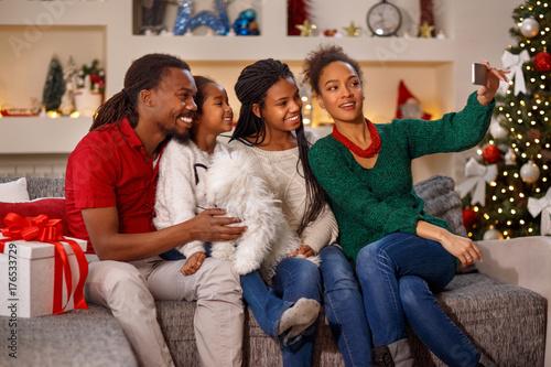 family making selfie on Christmas.
