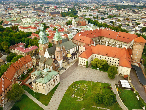 Fotobehang Krakau Aerial photo from the heights of Wawel Castle in the historic center of Krakow