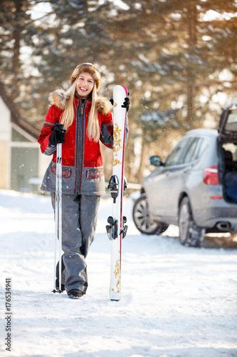 Female skier on mountain