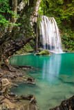 Waterfall in Thailand name Erawan in forest at Kanchanaburi provience