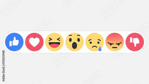 Emoji social network reactions icon, vector illustration