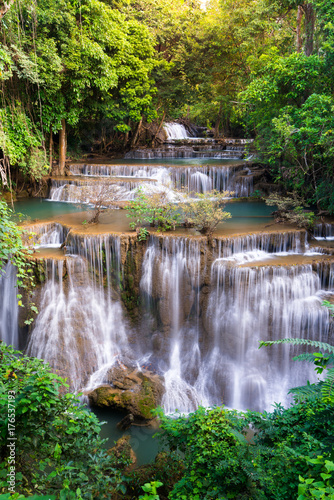 Waterfall in Thailand, called Huay or Huai mae khamin in Kanchanaburi Provience - 176537193