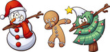 Fototapety Christmas dabbing characters. Vector clip art illustration with simple gradients. Each on a separate layer.