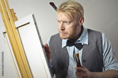 Concentrated painter at work