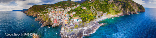 Aerial panoramic view of Riomaggiore from the Sea, Five Lands - Liguria - Italy Poster