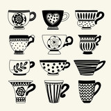 Set with tea cups. Freehand drawing. Can be used for scrapbook, postcards, print, etc. - 176547390