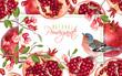 Pomegranate branch bird banner