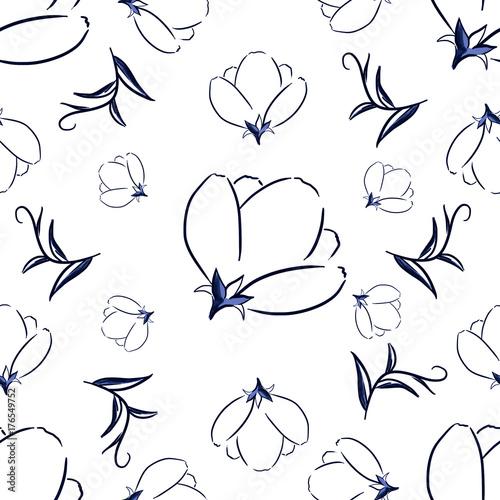 Beautiful delicate flower seamless pattern design - 176549752