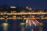 Bridge on the river Seine at night. Paris.
