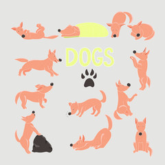 Cartoon dogs set. Twelve red dogs in different poses.