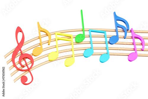 Fototapeta Colorful Music Notes, 3D rendering