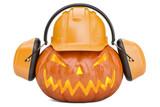 Halloween pumpkin with hardhat and ear defenders, 3D rendering - 176561530