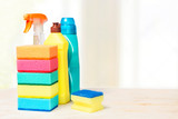 Sponges, detergents on the table - 176563727