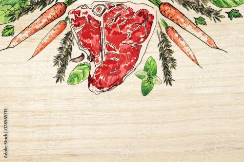 Fotobehang Steakhouse Tasty meat steak wooden background