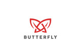 Butterfly Mascot Tattoo Logo design vector template Linear style