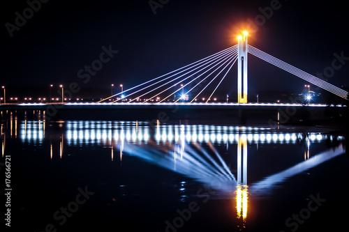 Plakat Jätkänkynttilä (Lumberjack Candle) bridge by night. Rovaniemi, Finland.