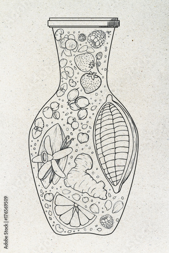 Abstract fruit vase drawing - 176569509