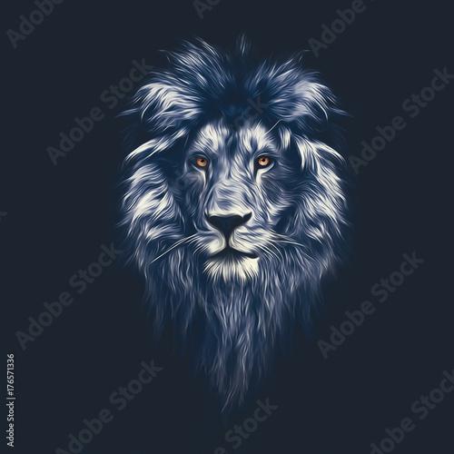 Portret pięknego lwa, lwa w ciemności, farby olejne, miękkie linie