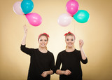 Women like a little girls want fly away by balloons. - 176585597