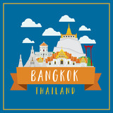Travel around in bangkok Landmarks architecture design illustration vector. - 176585990