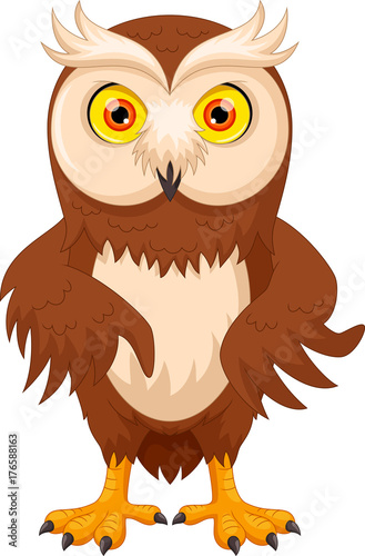 Fotobehang Uilen cartoon Vector illustration of cute cartoon owl isolated on white background