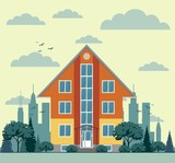 modern cottage house with trees and city background. Flat style graphic buildings. Vector illustration. - 176592112