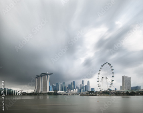 Singapore skyline panorama view from marina bay east side,cityscape of singapore Poster