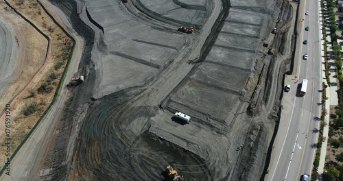 Overhead Ultra High Definition 4k Aerial of Tractors At Construction Site.