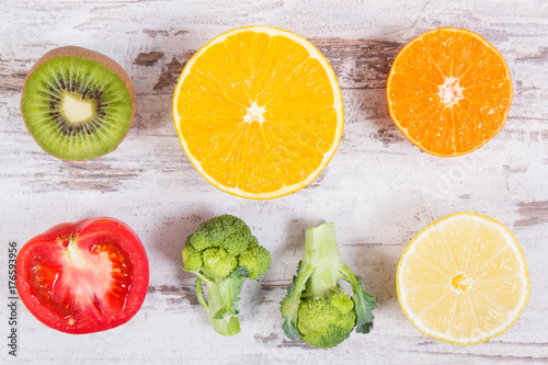 Fresh ripe fruits and vegetables as sources vitamin C, fiber and minerals, strengthening immunity and healthy eating concept