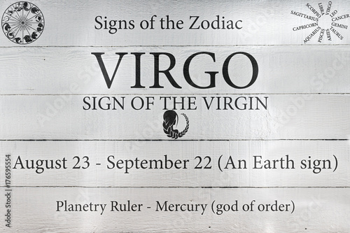 Hand Painted Wood Panel Zodiac Sign Virgo Poster