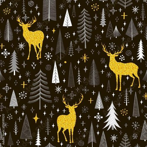 fototapeta na ścianę Seamless Christmas pattern with firs, snowflakes and deer