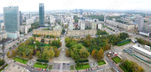 Poster Aerial panorama of Warsaw, Poland.