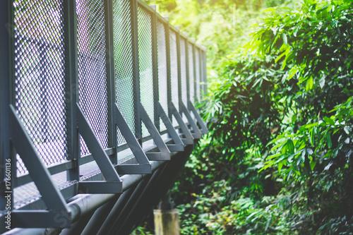 Plakat metal structure of sky walk bridge at natural park