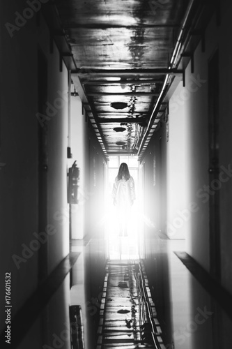 Mysterious Woman, Horror scene of scary ghost woman standing at corridor with li Poster