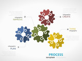 Process infographic template with gear symbol model made out of jigsaw pieces - 176602163