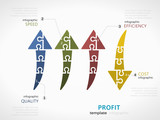 Profit infographic template with arrow symbol made out of jigsaw pieces - 176602167
