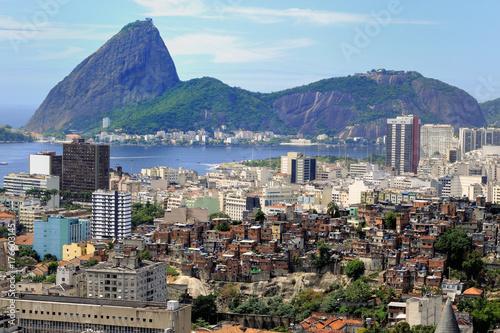 Brazil Rio de Janeiro view sugar loaf favela Poster
