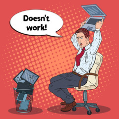 Pop Art Angry Businessman Crashes Laptop. Stress at Office Work. Vector illustration