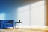 Minimalistic living room, blue armchair toned - 176604956