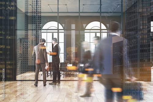 Fotobehang Hoogte schaal Black brick and glass office, meeting room, people