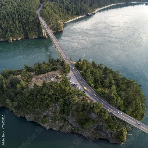 Deception Pass Bridge Aerial of Tourist Lookout Island Poster